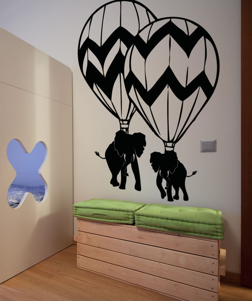Vinyl Wall Decal Sticker Hot Air Balloon Elephant Duo #5060
