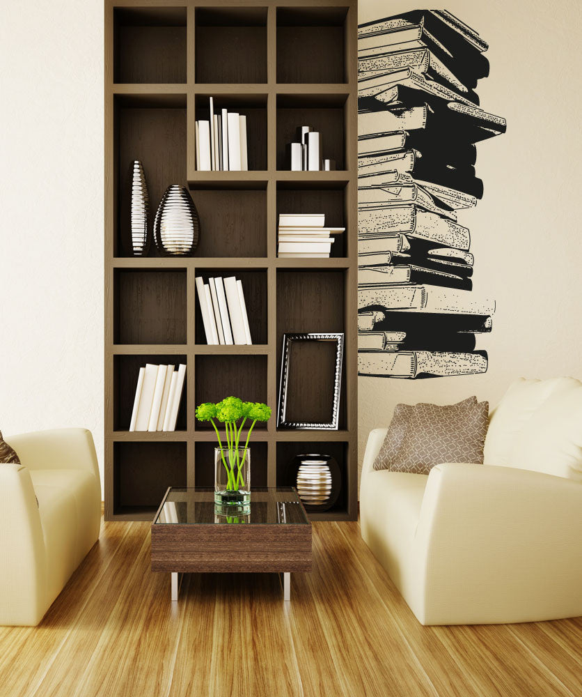 Stack Of Library Books Vinyl Wall Decal Home Decor 5062