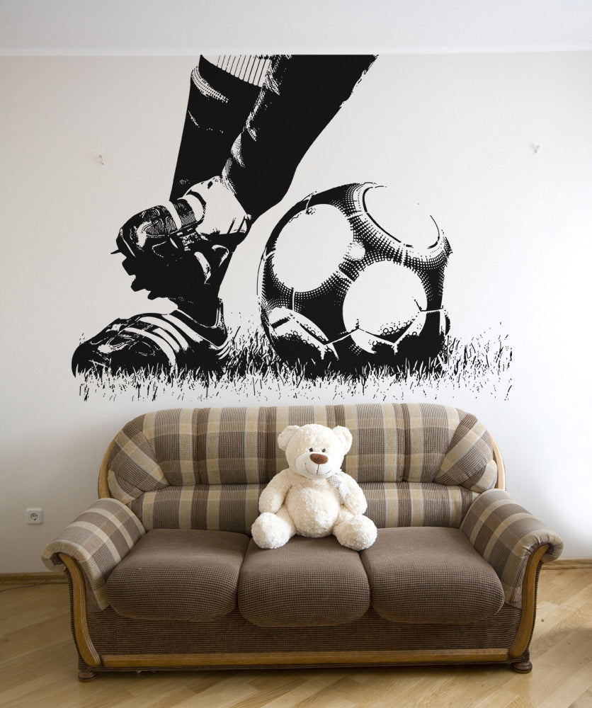 Soccer Football Action Feet Kicking Ball wall decal. #5074