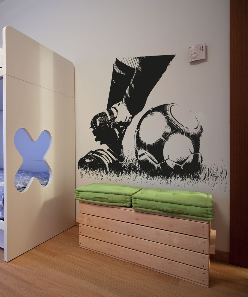 Soccer Football Action Feet Kicking Ball Wall Decal 5074