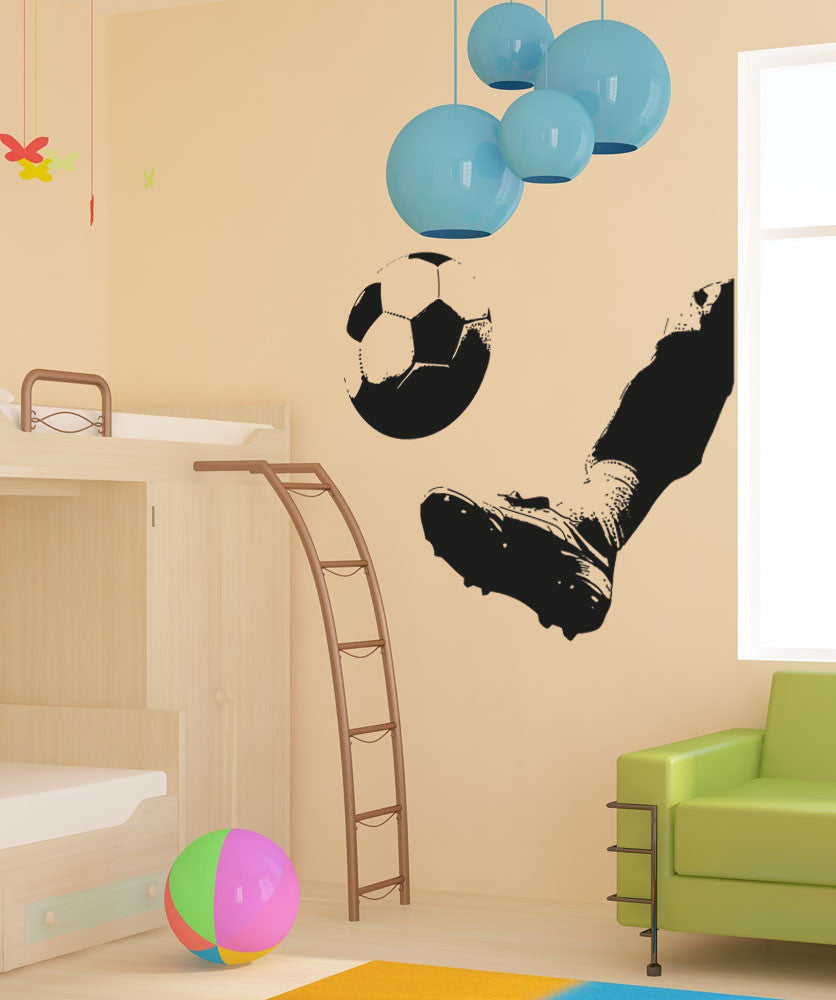 Vinyl Wall Decal Sticker Kicking Soccer Ball #5077