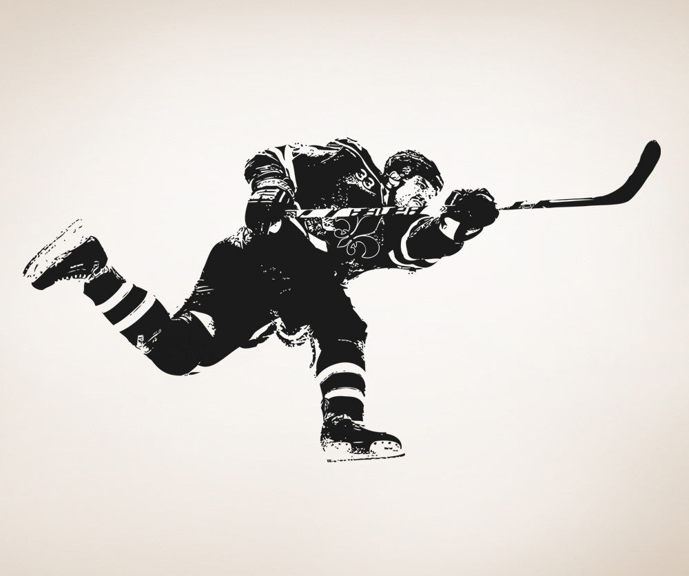 Vinyl Wall Decal Sticker Hockey Slap Shot - How to get vinyl decals to stick to textured walls