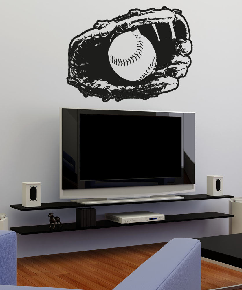 Vinyl Wall Decal Sticker Baseball in Glove #5096