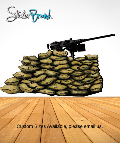 Graphic Wall Decal Sticker Gun 50 Caliber Nest Army Military #JH181