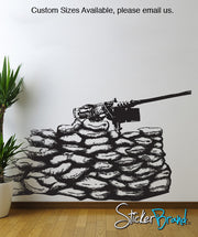 Vinyl Wall Decal Sticker  Gun 50 Caliber Nest Army Military #JH180