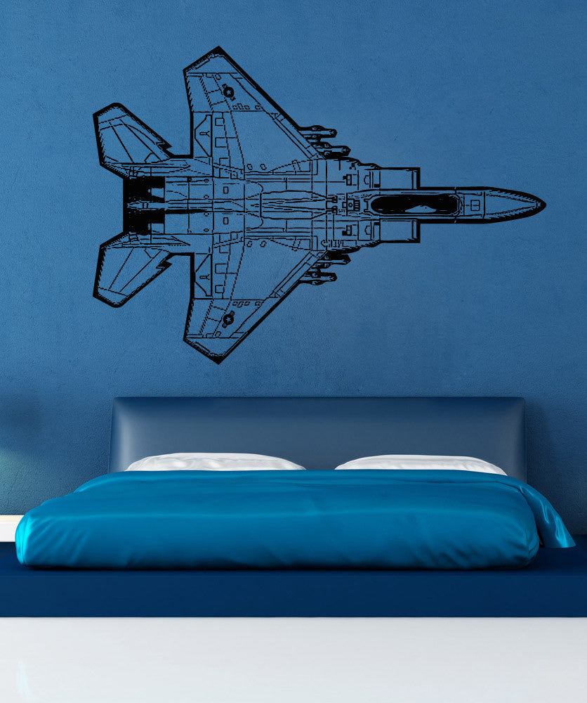 Vinyl Wall Decal Sticker Top of F15 Jet #5101