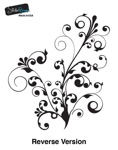 Swirl Floral Flower Wall Decal Decor Sticker #511