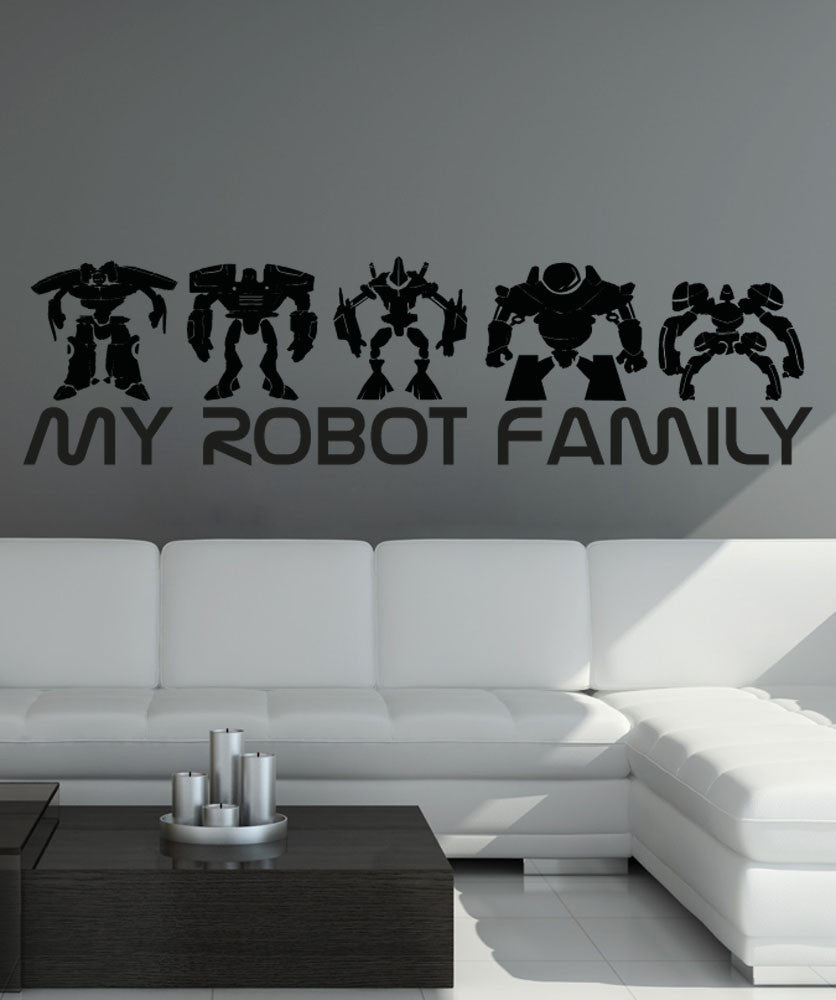 Vinyl Wall Decal Sticker My Robot Family #5148