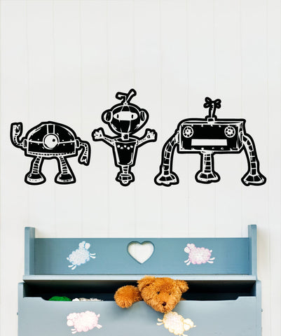 Vinyl Wall Decal Sticker Little Robot Trio #5152