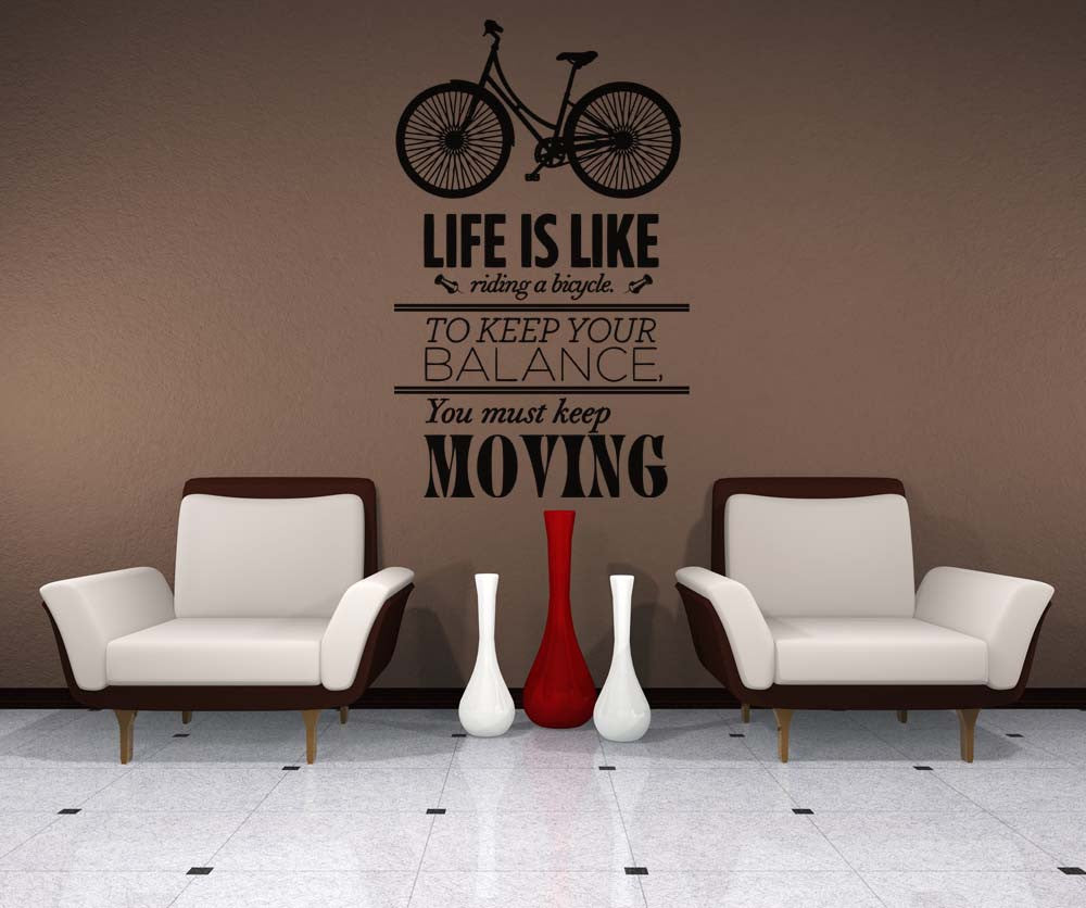 Vinyl wall decal sticker life is like a bike quote 5153 amipublicfo Choice Image