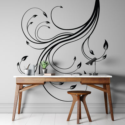 Swirl Flower Floral Vinyl Wall Decal Sticker. #515