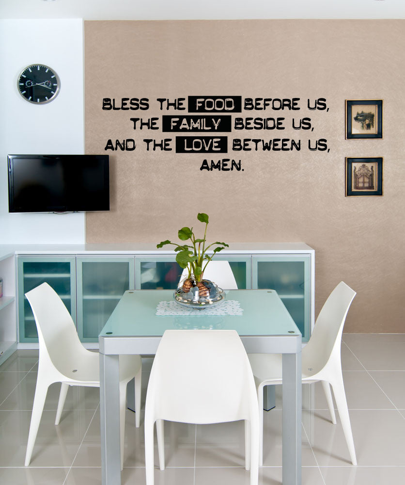 Vinyl Wall Decal Sticker Family Dinner Prayer #5192