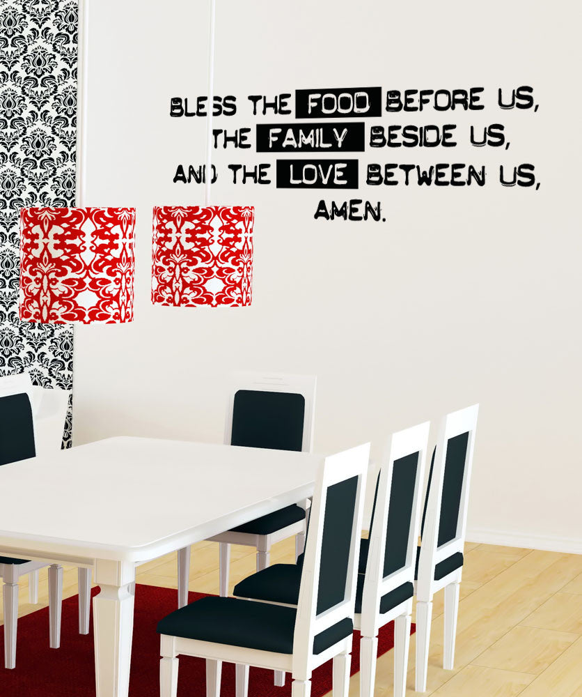 Vinyl Wall Decal Sticker Family Dinner Prayer - Wall decals about family