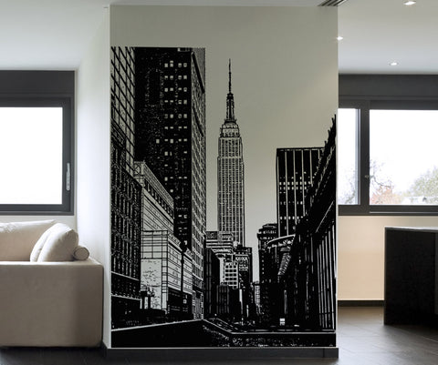 (Clearance) (Black color) (72in Tall X 54in Wide) New York City Empire State Building Wall Decal #5206