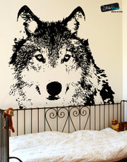 Wolf Face Wall Decal. Outdoors theme decor. #521