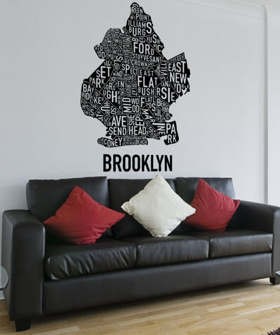 Vinyl Wall Decal Sticker Brooklyn Words Map #5215