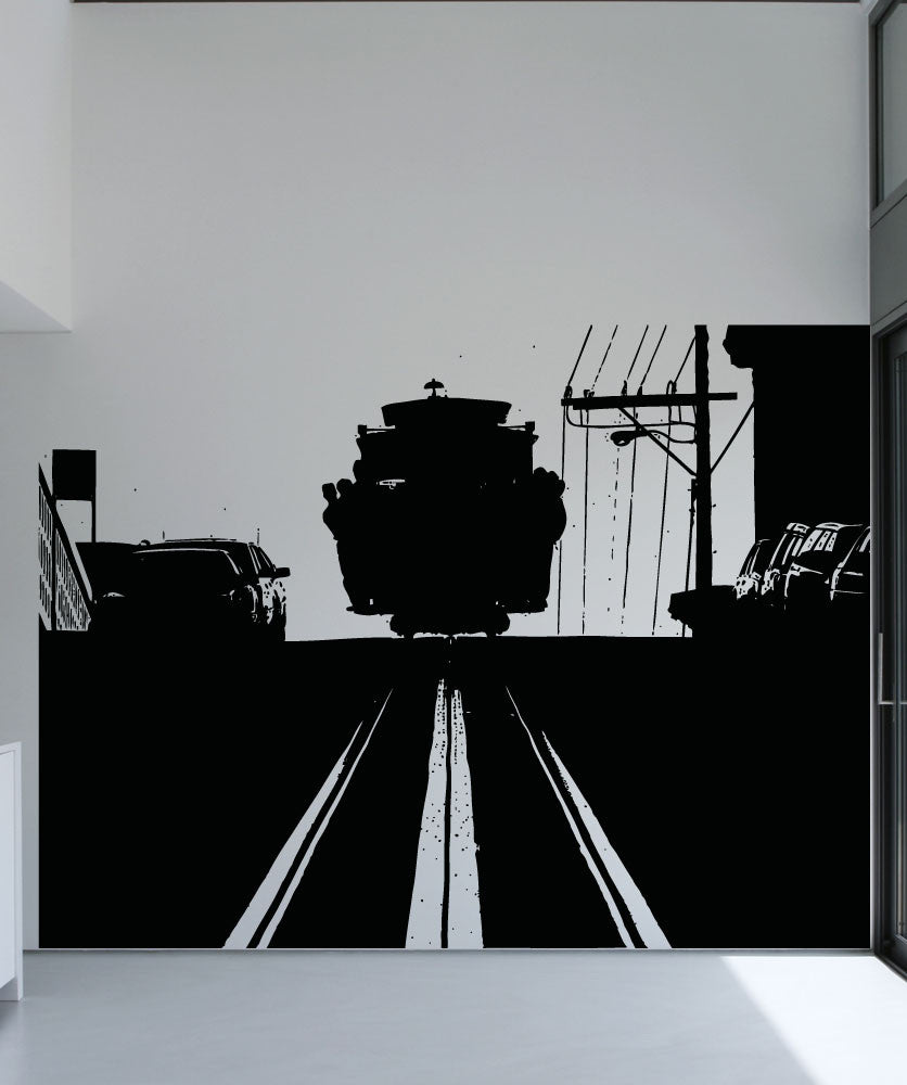 Vinyl Wall Decal Sticker Cable Car Silhouette #5218