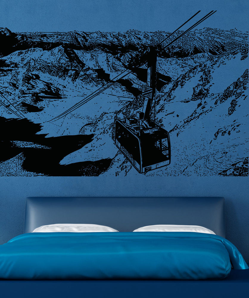 Vinyl Wall Decal Sticker Mountain Lift Scenery #5222