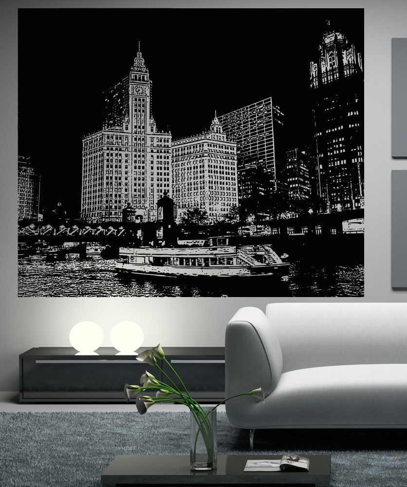 Vinyl Wall Decal Sticker Chicago River Ferry Scenery #5223