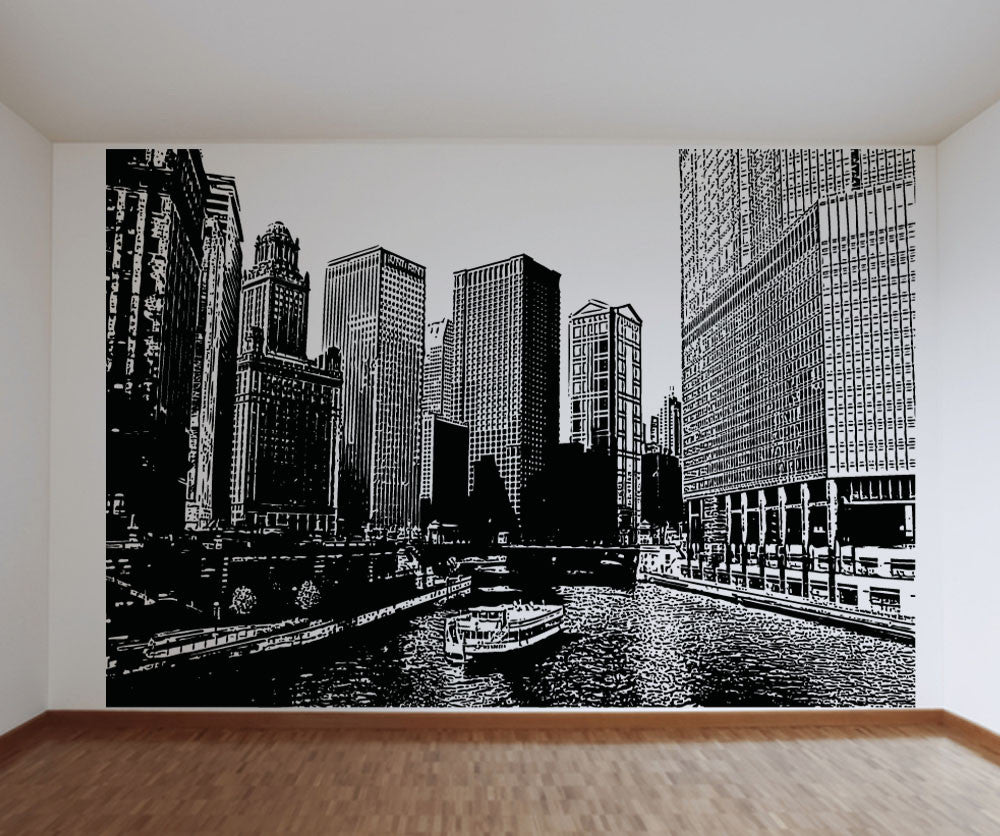 & Vinyl Wall Decal Sticker Chicago River Ferry #5224