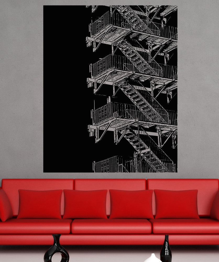 Vinyl Wall Decal Sticker Fire Escape Stairs #5231