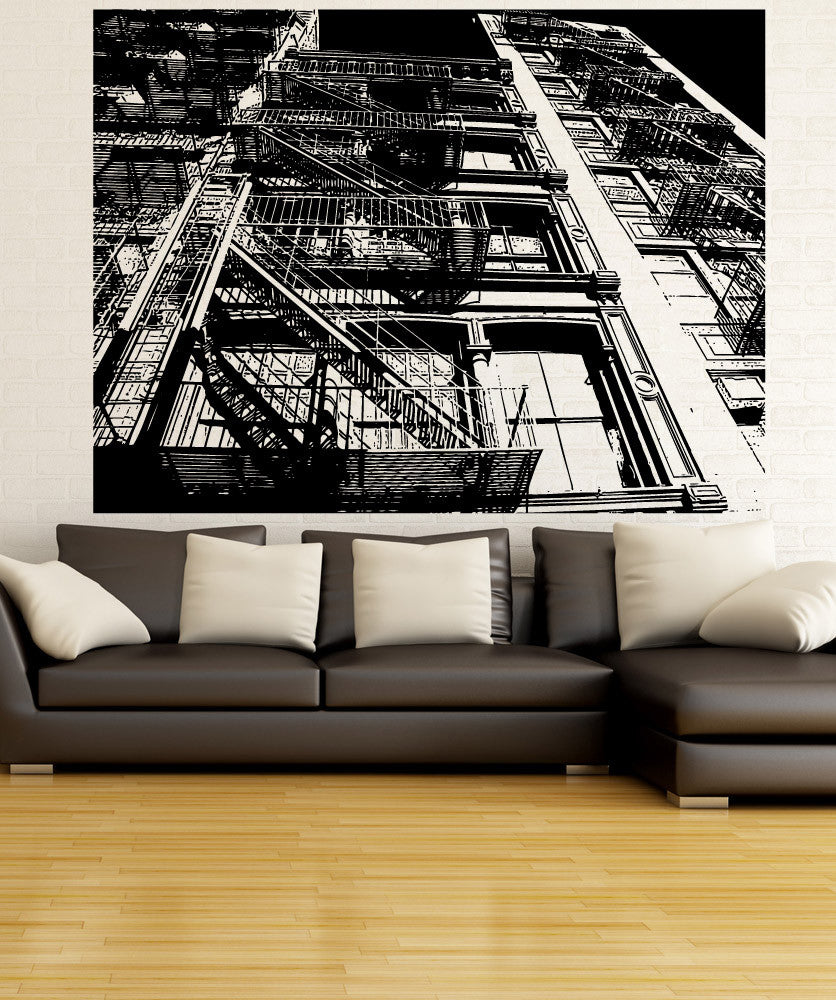 Vinyl Wall Decal Sticker Fire Escape Ground View #5233