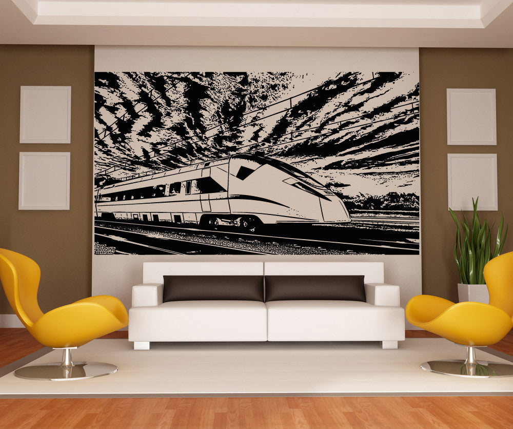 Vinyl Wall Decal Sticker Japanese Bullet Train Scenery - Japanese wall decals