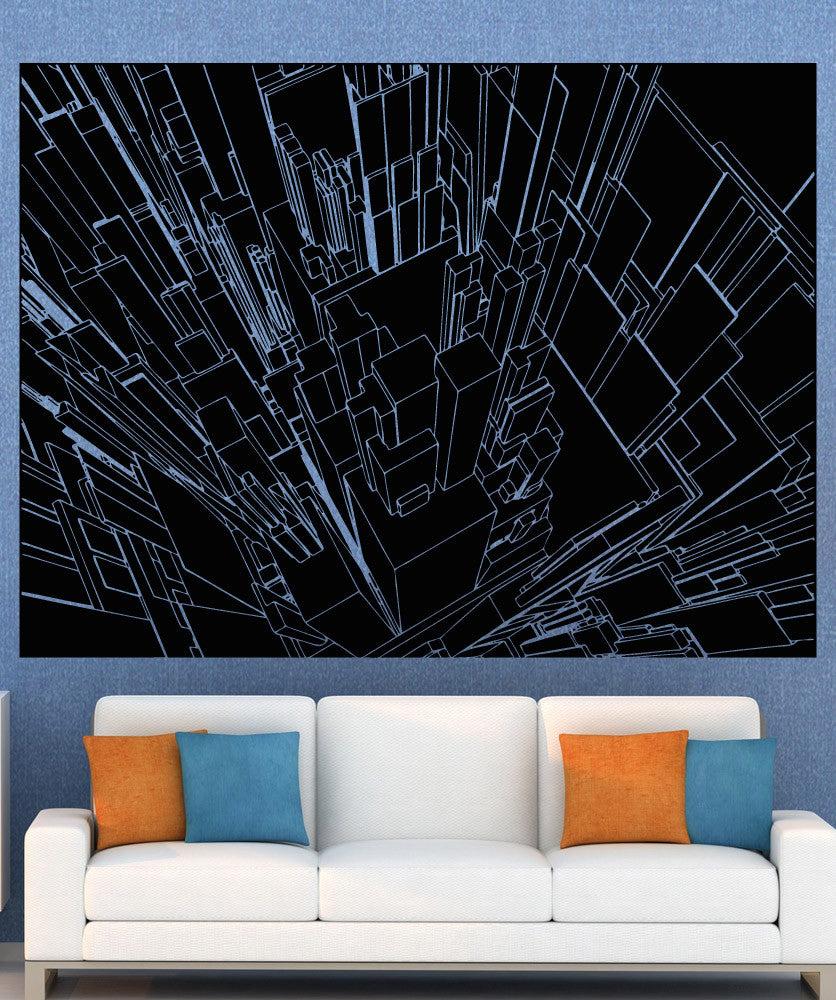 Vinyl Wall Decal Sticker Line Buildings Inverted #5256