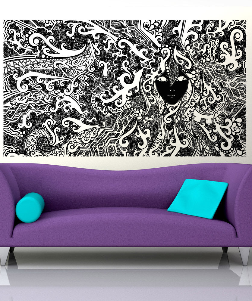 Vinyl Wall Decal Sticker Zentangle Face #5265