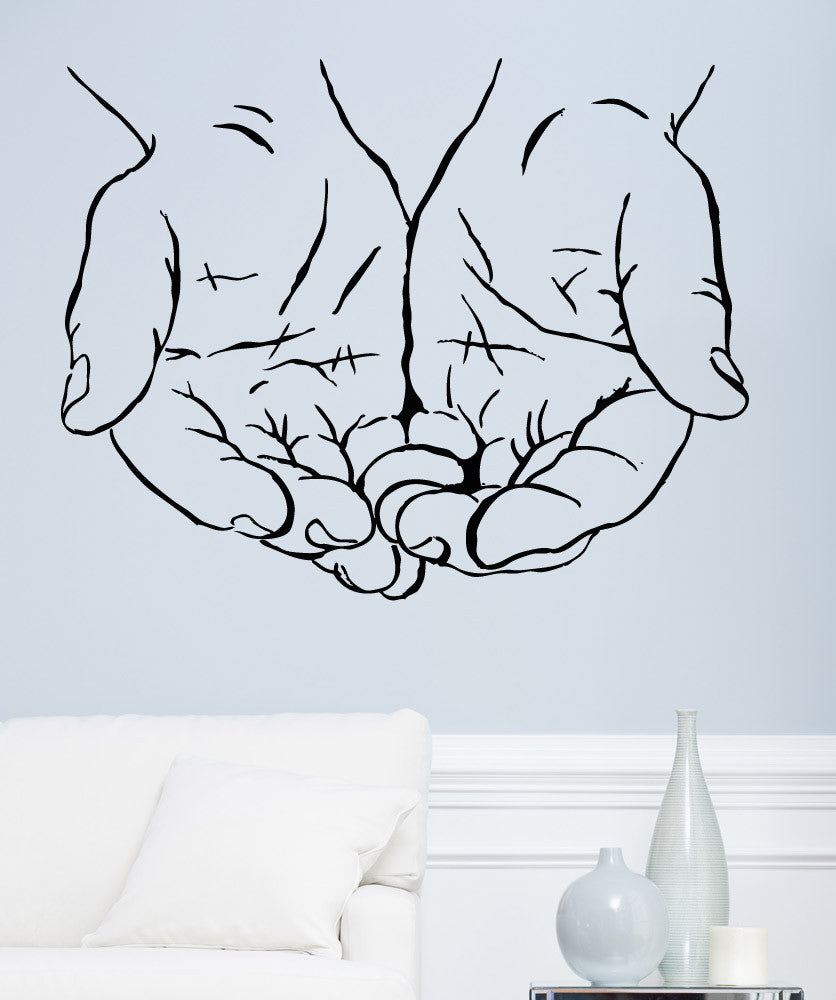 Vinyl Wall Decal Sticker Offering Hands #5267