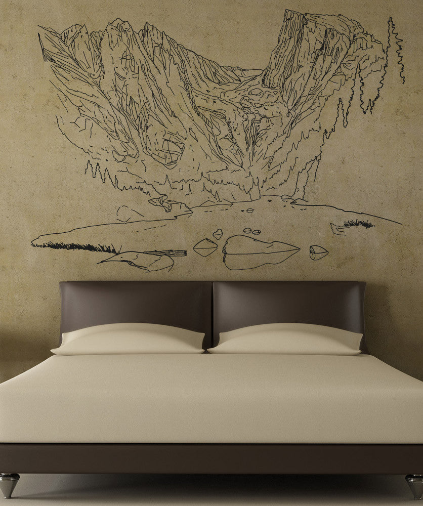 Vinyl Wall Decal Sticker Lake Scene Line Art #5269