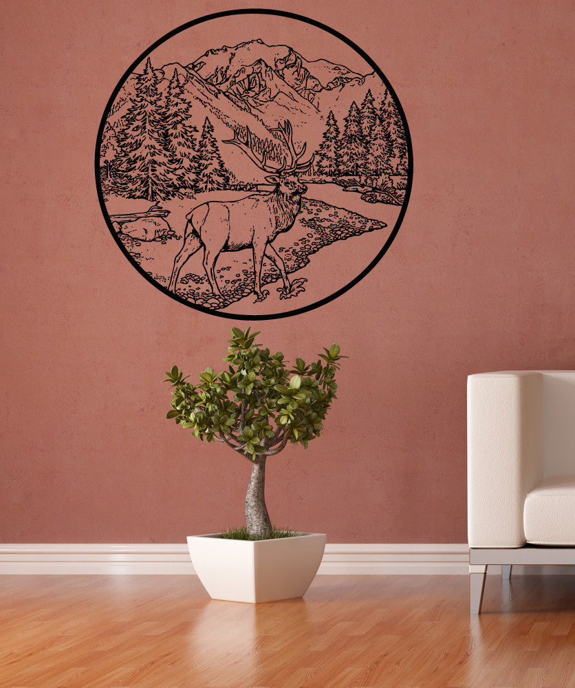 Vinyl Wall Decal Sticker River Scenery With Deer 5282