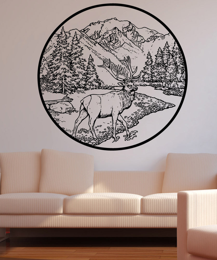Vinyl Wall Decal Sticker River Scenery With Deer #5282