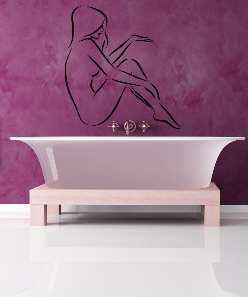 Vinyl Wall Decal Sticker Posing Woman Outline #5289