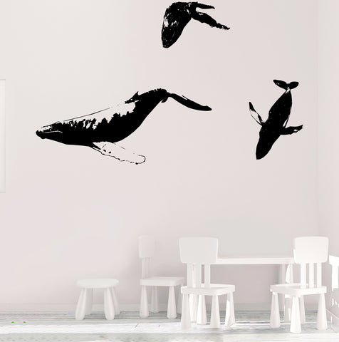 Whale Family Swimming in Ocean Wall Decals. #528