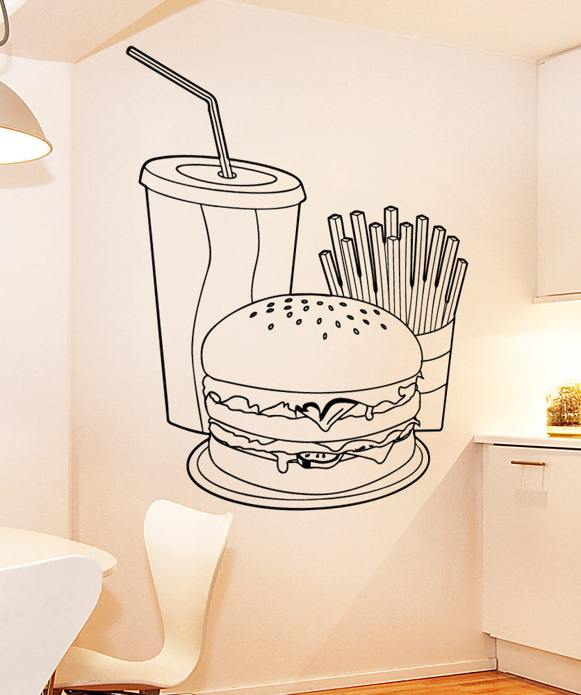 Vinyl Wall Decal Sticker Burger Meal #5311