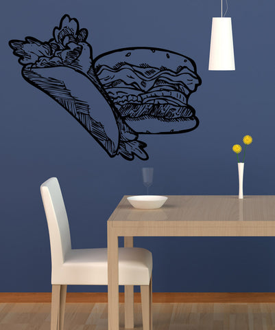 Vinyl Wall Decal Sticker Burger and Burrito #5312
