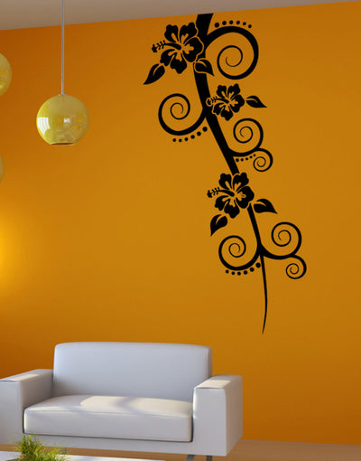 Vinyl Wall Decal Sticker Hanging Hibiscus #5329 & Hibiscus Flower Wall Decal | Hibiscus Wall Stickers