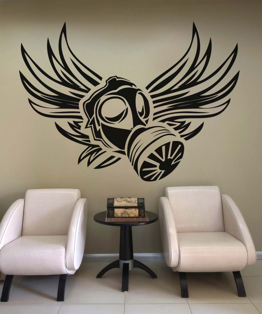 Vinyl Wall Decal Sticker Gas Mask Wings #5334
