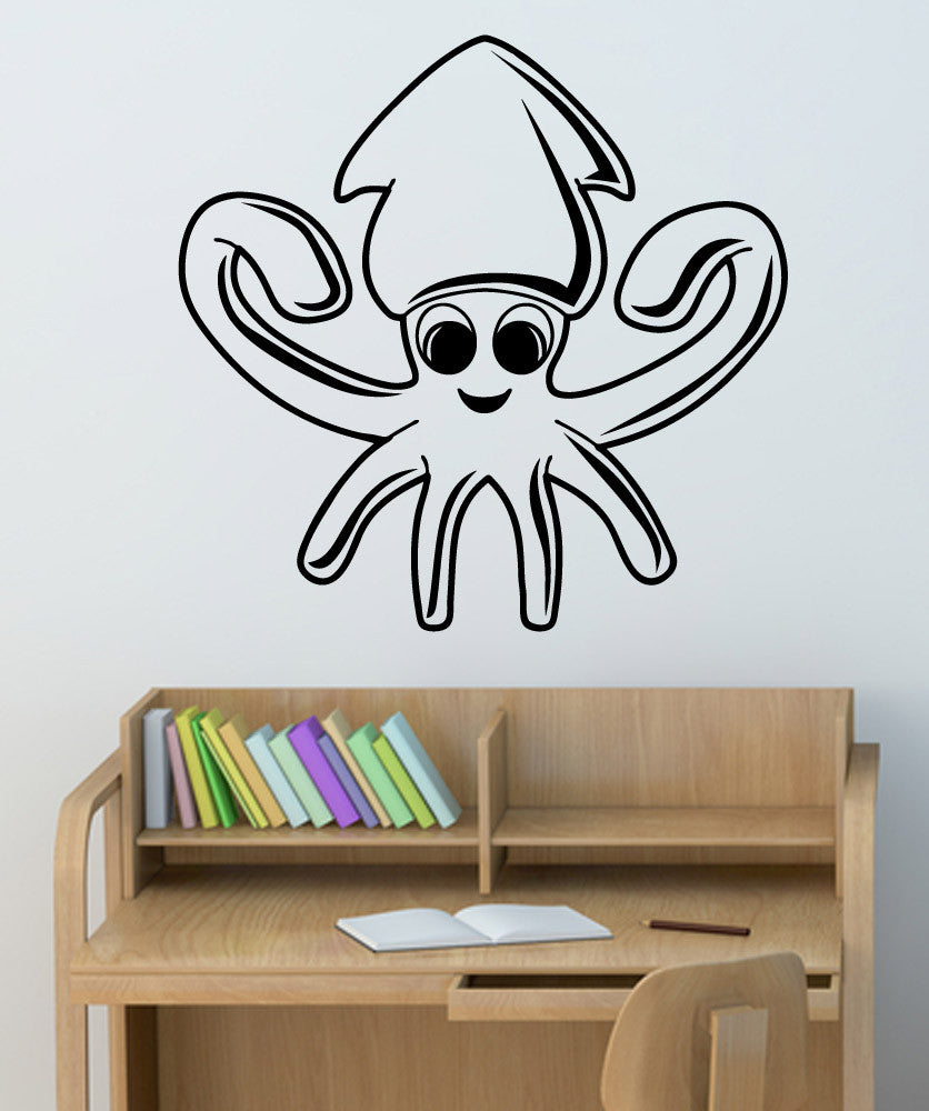 Vinyl Wall Decal Sticker Happy Squid #5339