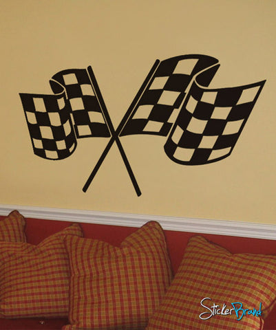 Vinyl Wall Decal Sticker Checker Flag Nascar #533