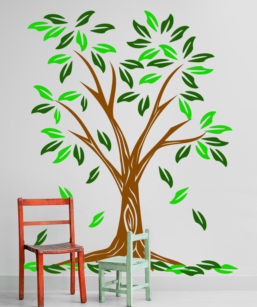 Vinyl Wall Decal Sticker Tree With Two Color Leaves #5348