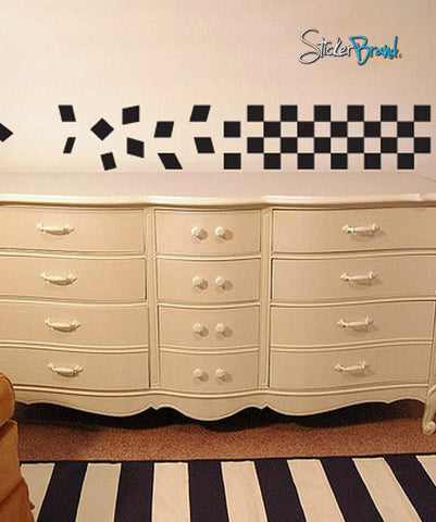 Vinyl Wall Decal Sticker Flying Checker Pattern #534