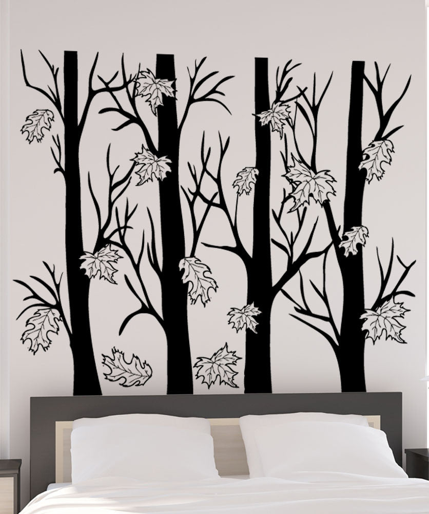 Vinyl Wall Decal Sticker Trees With Autumn Leaves - Wall decals leaves