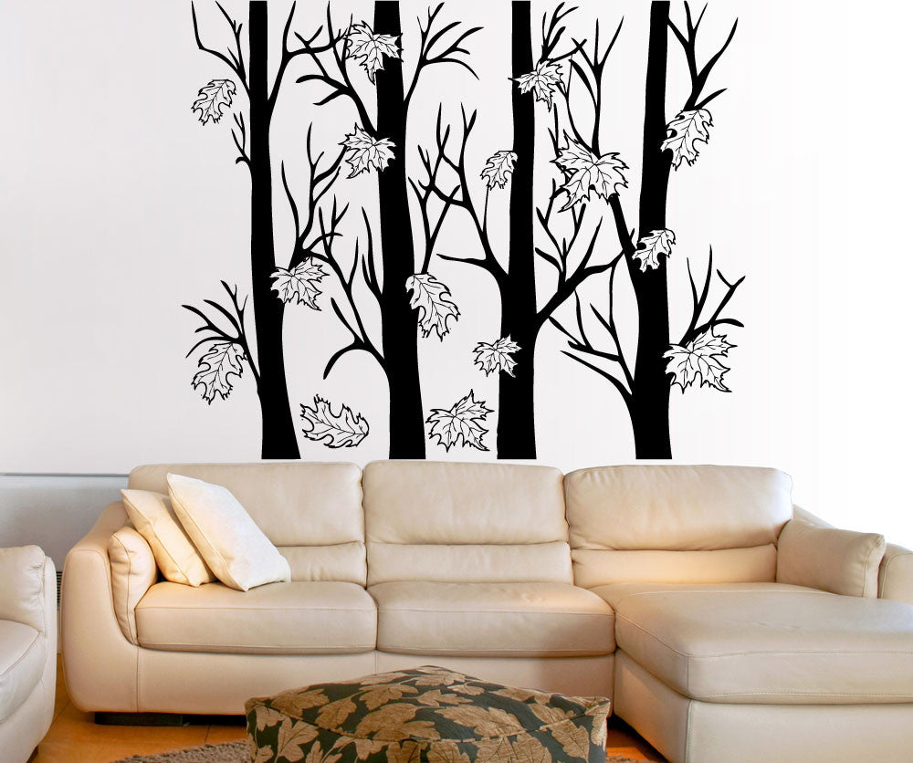 Vinyl wall decal sticker trees with autumn leaves 5351 amipublicfo Choice Image