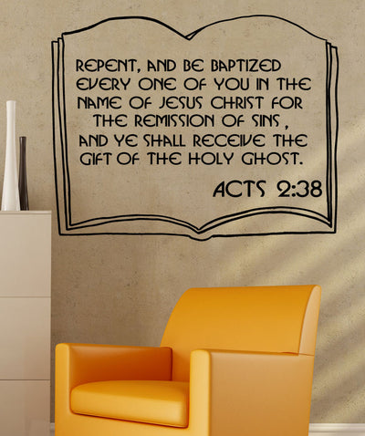 Vinyl Wall Decal Sticker Acts 2:38 #5385