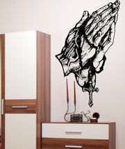 Vinyl Wall Decal Sticker Detailed Rosary Hands #5425