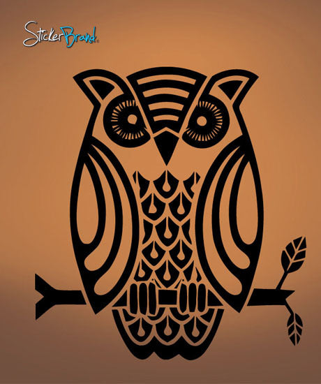 Vinyl Wall Decal Sticker Owl Sitting on Branch #544