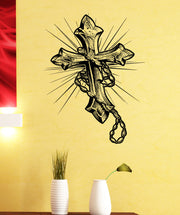 Christian Rosary Cross Vinyl Wall Decal Sticker #5457