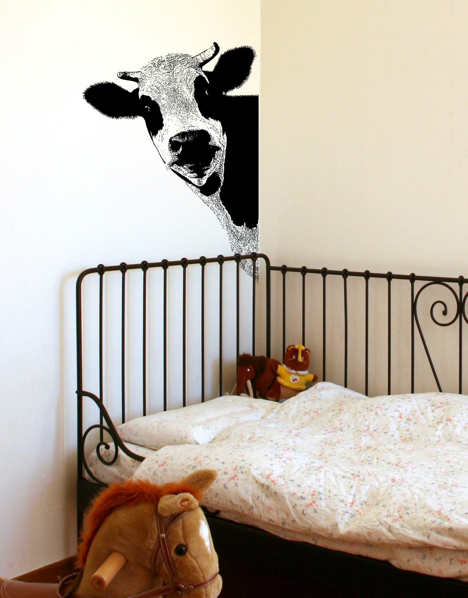 Peeking Cow Wall Decal Sticker For Your Kitchen 5476